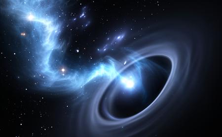 schwarz: Sterne und Material fällt in ein schwarzes Loch