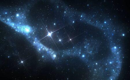 deep: Blue space nebula Stock Photo