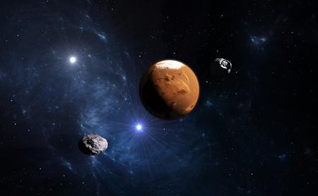 mision: Planeta Marte con la Luna, ilustración