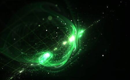 digitally generated image: Digitally generated image of green light and abstract shapes over black background