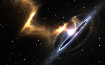 astronomie: Sterne und Material fällt in ein schwarzes Loch