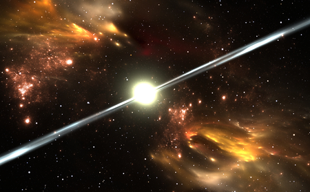 chaos theory: Pulsar highly magnetized, rotating neutron star