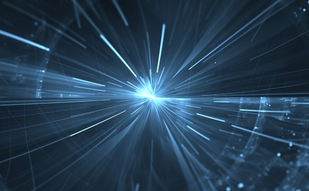 the light rays: Time warp, traveling in space.