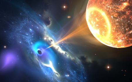 Black hole or a neutron star and pulling gas from an orbiting companion star. Standard-Bild