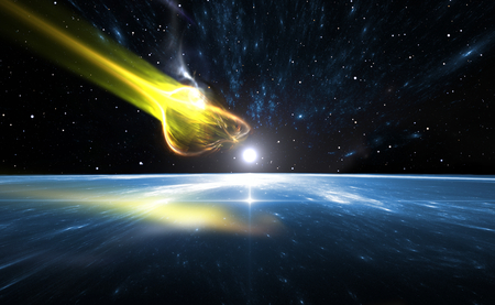 the blue planet: Falling comet and blue Planet Earth, illustration