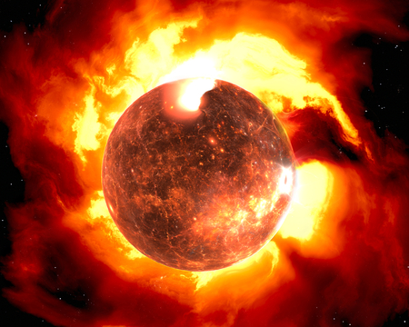infra red: The Sun with corona. Global warming Stock Photo
