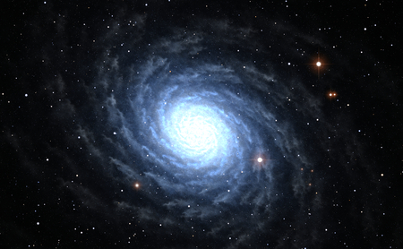 Illustration of blue Spiral Galaxy with star field