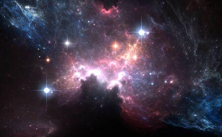 humo: Nebulosa del espacio púrpura con las estrellas de luz