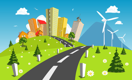 power in nature turbine: Road into the city around wind power station. Vector