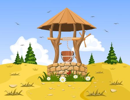seau d eau: Un puits avec de l'eau pure et naturelle. Vecteur