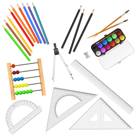 item: Assortment of school supplies isolated on white background