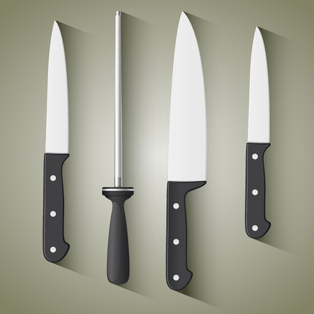 paring: Set of steel kitchen knives. Includes carving, paring, and utility knives. Illustration