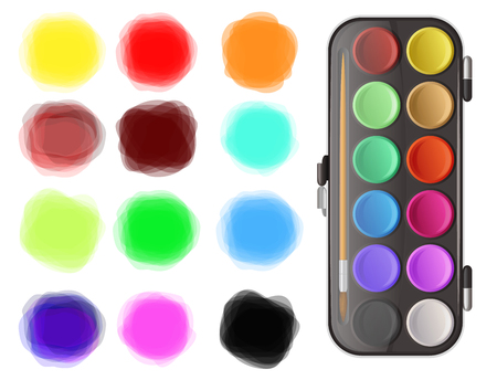 splotches: Watercolors and color splotches on white background