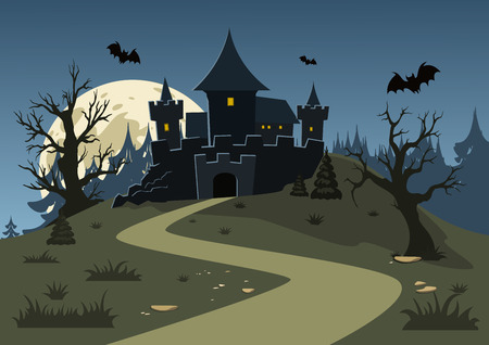 Halloween haunted castle, trees, bats, and a full moon. Vector illustration Stock Illustratie