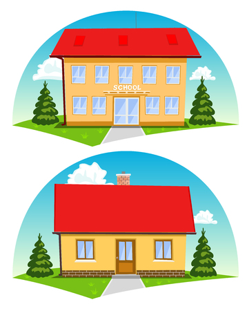 school icon: Colorful cartoon houses on white background. Vector