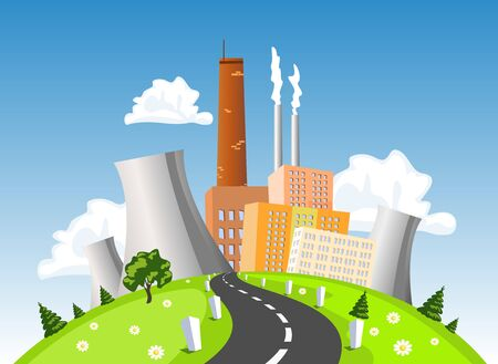 Fabrik, elektrische Kraftwerk, Atom- oder Kernkraftwerk auf dem Hügel, Vektor-Illustration Standard-Bild - 46612568