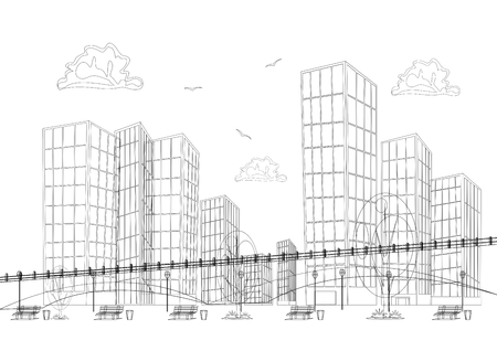 commuting: Black and white design big modern city with skyscrapers Illustration