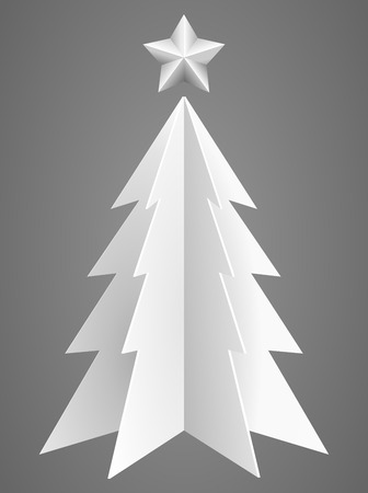 stars symbols: Christmas tree from hard white paper