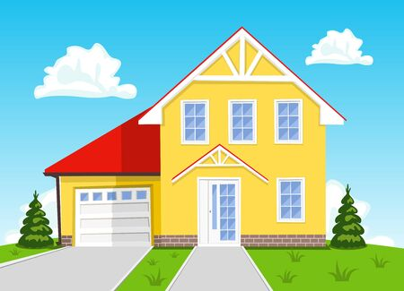 background house: Colorful vector cartoon house on blue background. Illustration Illustration