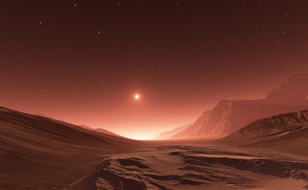 火星の夕焼け。火星の山、谷からの眺め