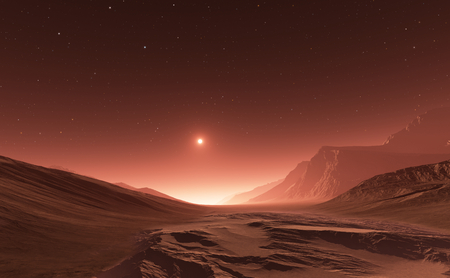 cosmology: Sunset on Mars. Mars mountains, view from the valley