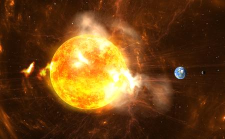 巨大な太陽フレア。超嵐と放射線を大量生産太陽をバーストします。 写真素材