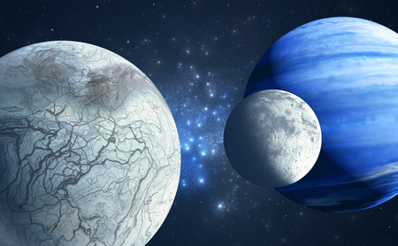 earthlike: An Earthlike moon and icy moon orbiting a gas giant host planet Stock Photo
