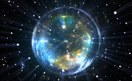 quantum: Spherical energetic quantum bubble Stock Photo