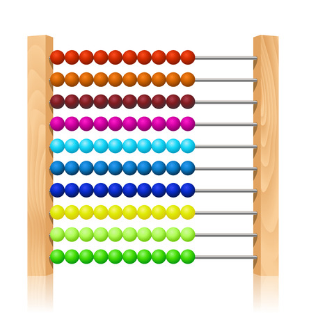 abacus: Abacus with colorful wooden beads Illustration