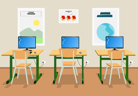 schooldesk: Vector illustration of an empty classroom