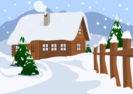 montagna: Chalet in inverno, illustrazione vettoriale