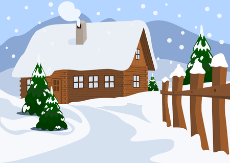 chalet: Chalet in Winter, Vector Illustration