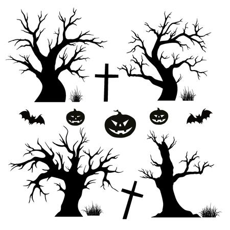 bate: Halloween de los árboles, las arañas y los murciélagos en el fondo blanco