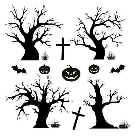 gnarled: Halloween trees, spiders and bats on white background