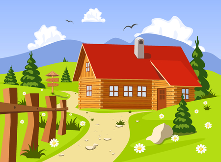 chalet: Chalet in Summer, Vector Illustration