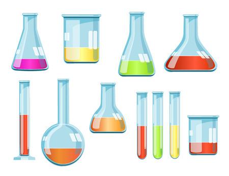 material de vidrio: Vector de vidrio de laboratorio con líquidos de diferentes colores Vectores
