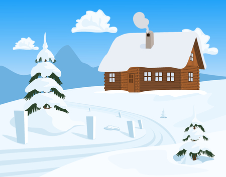 cottage: Chalet in Winter, Vector Illustration