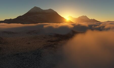 ice age: Ice age. Icy wasteland of the clouds in the sky, 3D render Stock Photo