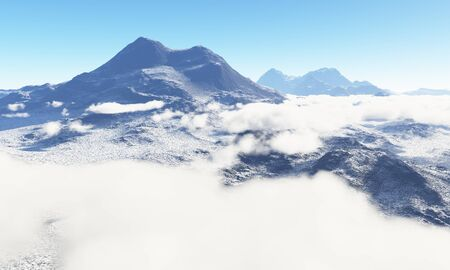 wasteland: Ice age. Icy wasteland of the clouds in the sky, 3D render Stock Photo