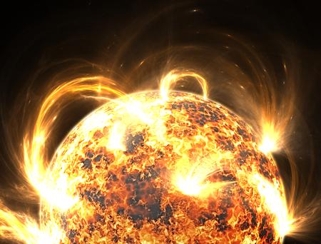 geomagnetic: Extreme solar storm, solar flares Stock Photo