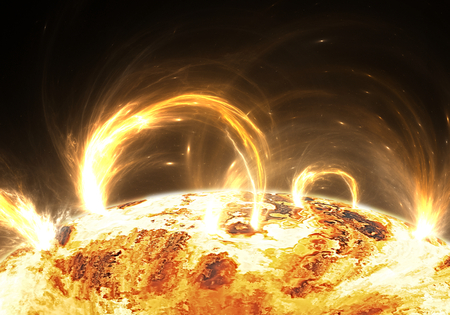 extreme science: Extreme solar storm, solar flares Stock Photo