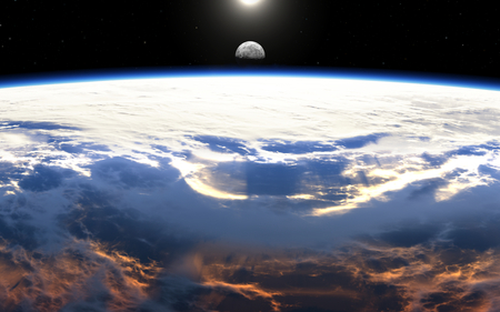 astro: Earth sunrise with clouds, moon and stars Stock Photo