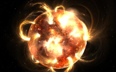 cosmic rays: Sun with corona. Solar storm, solar flares