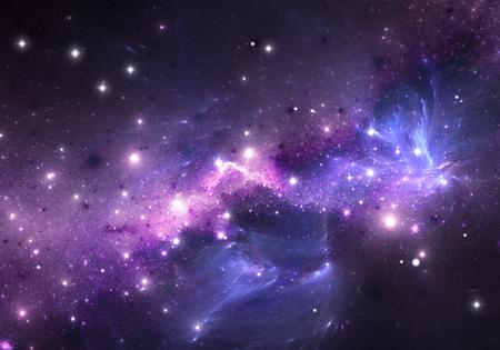 Paarse nevel en sterren. ruimte achtergrond Stockfoto
