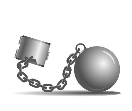 vector de la bola y la cadena en un fondo blanco