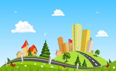 都市景観のベクトル図
