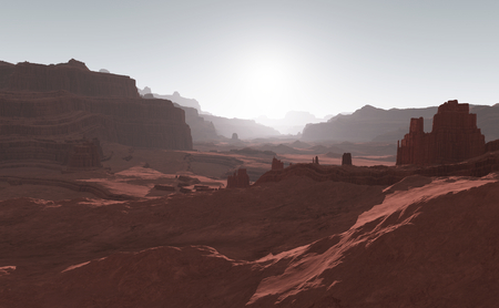 valley: Sunset on Mars. Mars mountains, view from the valley