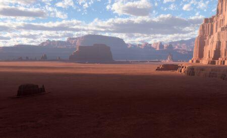 desert landscape: 3D Fantasy desert landscape