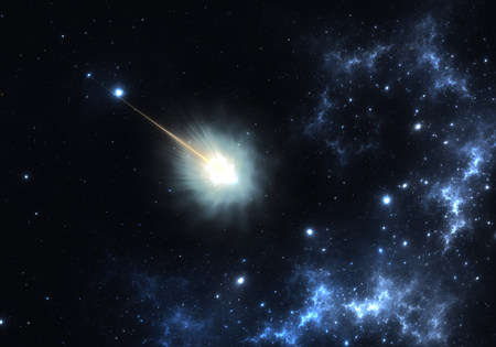 radiacion solar: Flying comet with long tail due to solar radiation and solar wind
