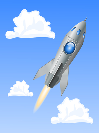 ballistic missile: Rocket space ship on blue sky background. Vector Illustration Illustration